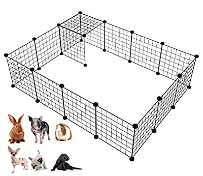 LANGXUN Metal Wire Storage Cubes Organizer, DIY Small Animal Cage for Rabbit, Guinea Pigs, Puppy   Pet Products Portable Metal Wire Yard Fence (Black, 16 Panels)