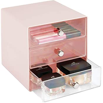 bo/îte de Rangement pour Commode ou lavabo mDesign bo/îte /à Bijoux Rangement Bijoux en Plastique Transparent /à Trois tiroirs Noir et Transparent
