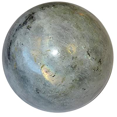 Satin Crystals Labradorite Sphere Crystal Healing Ball Silver Mystic Healing Light Protection Stone in Silver Blue Premium P01 (2.0 Inch)