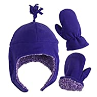 N'Ice Caps Little Girls and Baby Sherpa Lined Warm Fleece Hat & Mitten Winter Set