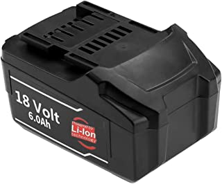 18V 6.0Ah High Capacity Replace for Metabo 18V Lithium-ion Battery 625342000 625345000 625367000 625368000 625369000 625592000 625596000 627268000 625592000-2 US625367002 US625369002 Power Tools