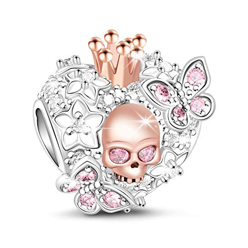GNOCE Heart Skull Charm 925 Sterling Silver 'Beauty of Death' Rose Gold Plated Skull Queen and Butterfly with Pink Cubic Zirconia Bead Charms fit Bracelets Necklaces