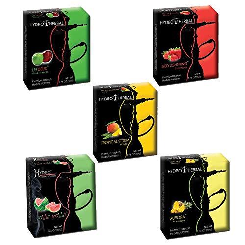 Hydro Herbal, Hookah Shisha Flavors, Tobacco & Nicotine Free, Tropical Smoothie Variety Pack, 50-Gram (Pack of 5)