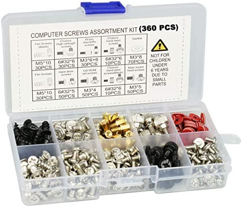 YUANSHI 360PCS Personal Computer Screws Standoffs Assortment Kit for Hard Drive Computer Case product image