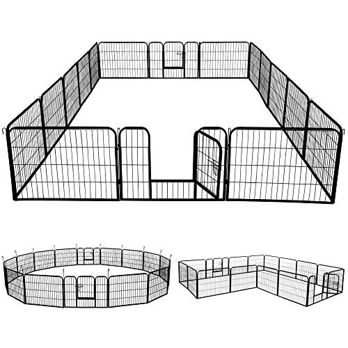 YAHEETECH 24-inch 16 Panel Portable Metal Fence Folding Pet Playpen with Door/Gate for Large Small Animals Outdoor Indoor for Dog/Cat/Puppy/Rabbits Exercise Playpen Black