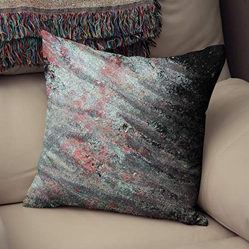 Lplpol Funda de almohada decorativa de lona, diseño abstracto, azul y rosa, decoración neutra, cojín moderno para sofá, 22 pulgadas, decoración navideña