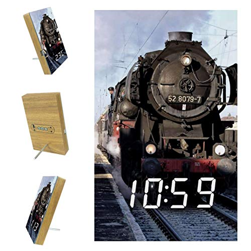 Desheze LED Kinderwecker Zug Dampfverkehr Eisenbahn Wake Up WeckerNachtwecker LED-Zeitanzeige Digitaler Wecker für Kinder Jungen und Mädchen 10x16x2.4cm