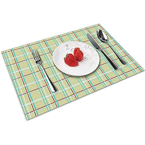 Strawberryran Jordan 's Plaid Retro Festliche Tischsets für Esstisch, waschbar Tischset hitzebeständig 6er-Set (12 x 18 Zoll)