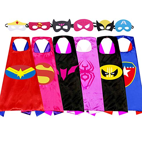 Kids Cartoon Superhero Capes Dressing Up Costume and Mask for Halloween Brithday Party Gifts (New Girl six Packs)