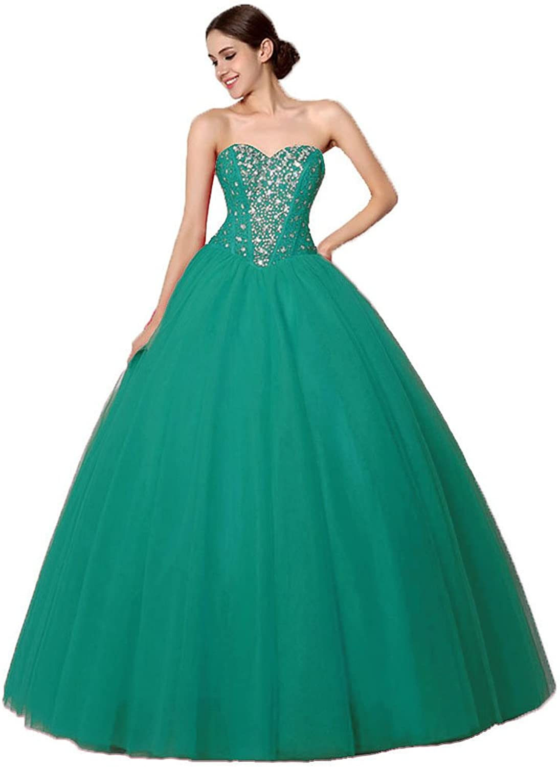 Vantexi Women's Beaded Tulle Prom Dress Quinceanera Ball Gown