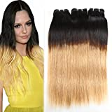Huarisi Straight Brazilian Bundles 1b/27 Human Hair Ombre Extensions Black and Strawberry Blonde