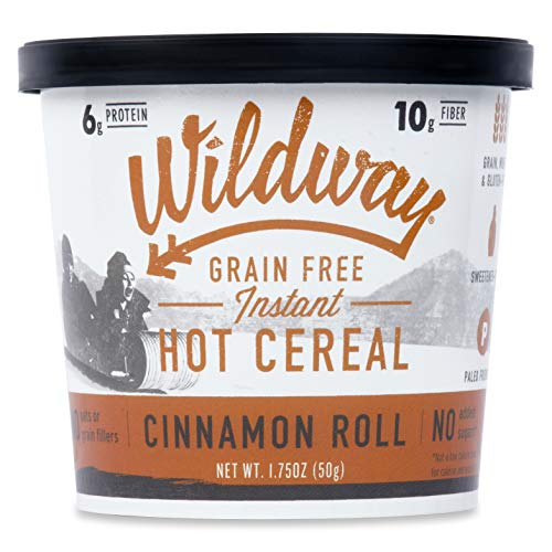Wildway Vegan Hot Cereal Cups   Cinnamon Roll   Certified Gluten Free Instant Breakfast Cereal, Low Carb Snack   Grain-Free, Keto, Paleo, Non-GMO, No Artificial Sweetener   6 pack