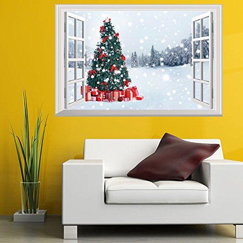 Wddwarmhome Kerst Venster Sneeuw Buiten De Kerstboom muur Stickers Kan verwijderen Papier Stickers Muur Stickers