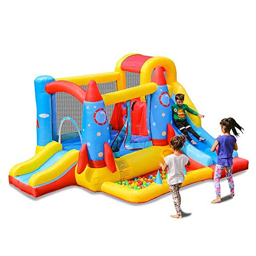 doctor dolphin Inflatable Bouncy House for Kids Outdoor Bounce House Slide Rocket Jumping Bouncy Castle House with Air Blower for Kids