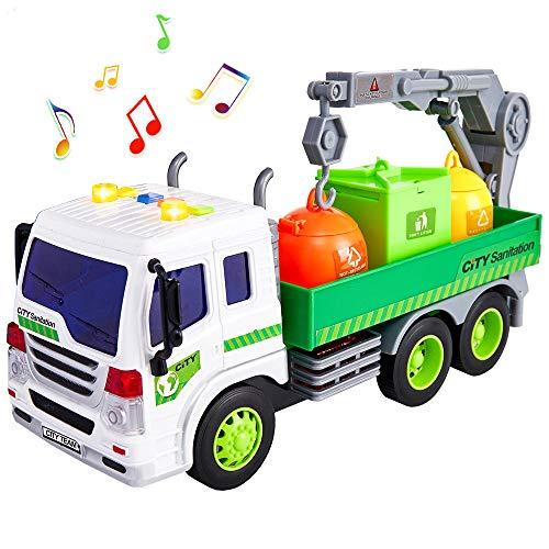 HERSITY Müllauto Spielzeug Müllwagen Kinderspielzeug mit Licht und Sound LKW Müllabfuhr mit Mülltonne Geschenk für Kinder Junge, 1:16 Müll Autos