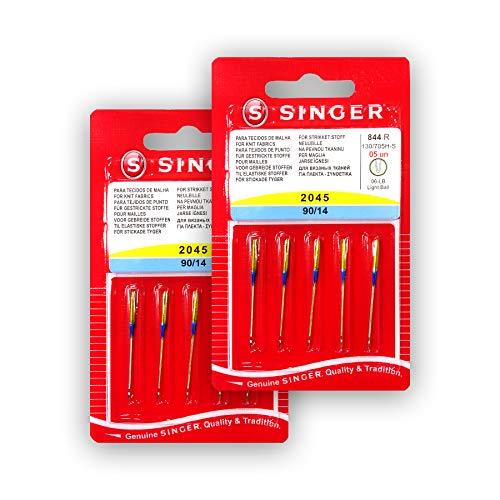 Pack de 10 Agujas para Máquinas de Coser Singer 2045 Grosor 90/14 para Tejidos Elásticos y de Punto (Stretch) 130/705 H-S (Talón plano de un lado) Universales