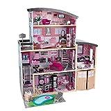 KidKraft- Maison Manoir Sparkle en Bois Meubles et Accessoires Inclus Ensemble de Jeu à 3 Étages pour Poupées, 65826, Rose, 30 cm