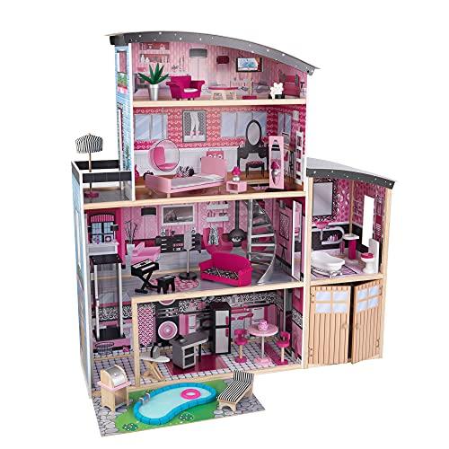 KidKraft- Sparkle Mansion Casa de muñecos de madera con muebles y accesorios incluidos, 3 pisos, para muñecos de 30 cm , Color Multicolor (65826)