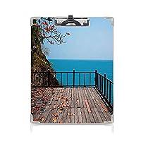 クリップボード テラスの装飾 プレゼントA4 バインダー 紅葉と海のテラスロック 用箋挟 クロス貼 A4 短辺とじ枝と木 茶色の赤と濃い青