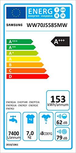 Samsung WW70J5585MW/EG Waschmaschine Frontlader / 7kg / Automatikprogramme / SchaumAktiv-Technologie / FleckenIntensiv / 85 cm Höhe / Aquastop 3