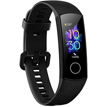 Honor Band 5 Smart Bracelet Watch, AMOLED Touch Display, Waterproof Fitness Tracker, Continuous Heart Rate Tracking - CRS-B19S (Meteorite Black)