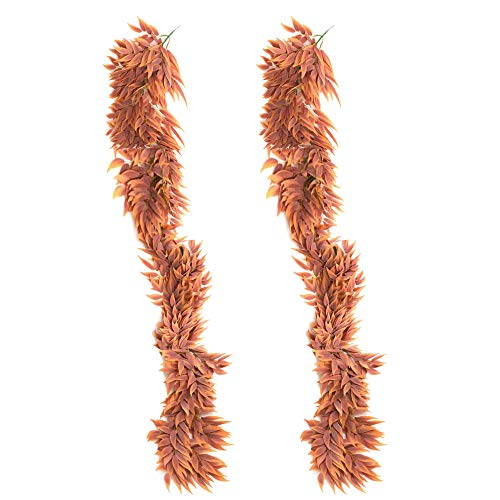 Artificial Plants Artificial Hanging Willow Vines 2 Strands 5.5 Ft Fake Leaves Room Wall Cottagecore Decor Twigs Plant Garland Decorations for Bedroom Dorm Garden Fence Wedding Arch G-2 Strands
