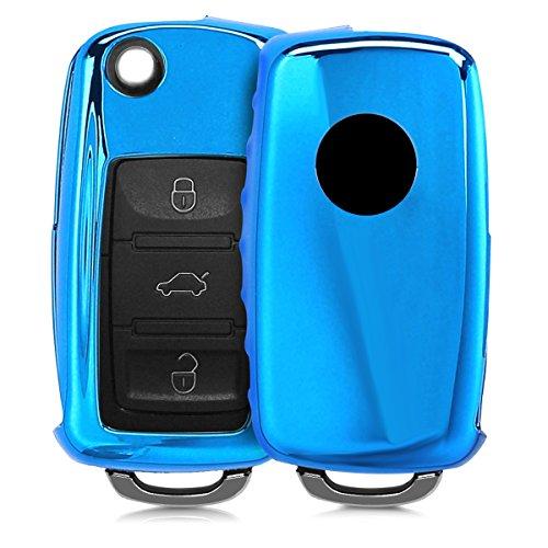 kwmobile Accessoire Clé de Voiture Compatible avec VW Skoda Seat 3-Bouton - Coque de Protection en Silicone - Bleu Haute Brillance