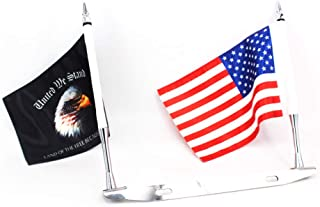 GUAIMI License Plate Mounted Double Flag Holder Double Motorcycle Flags (The American Flag & United We Stand Flag)
