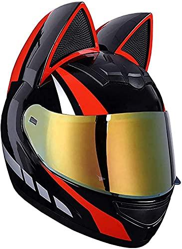 Cascos de motocicleta de cara completa con orejas de gato adulto voltear viseras Motocross Casco Moto Motorbike Casco Modular Casco Ligero Diseño Ligero Certificado Certificado Negro Rosa Mujeres XL