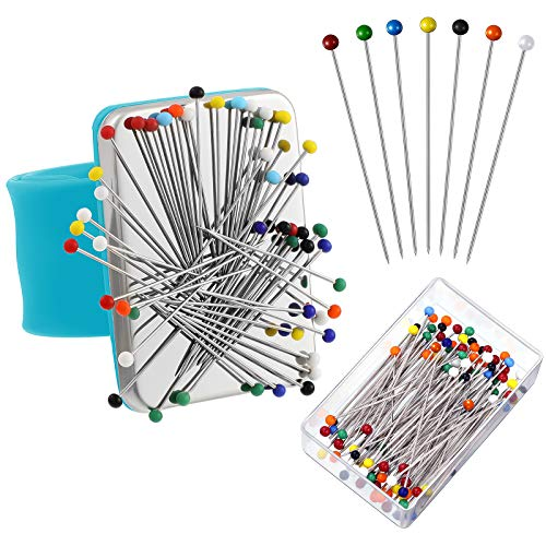 Magnetic Wrist Sewing Pincushion with 100 Pieces Sewing Pins Set Wrist Pin Cushion Magnetic Wrist Pin Holder Wristband Wrist 1.5 Inch Ball Head Straight Pins for Hand Sewing Supplies (Blue)