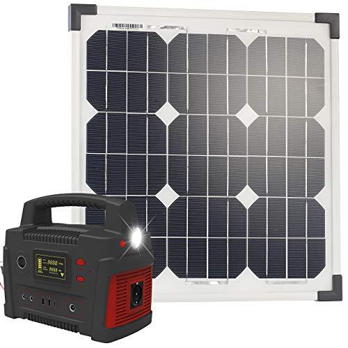 reVolt Solar Generator Camping: Powerbank & Solar-Konverter mit 20-Watt-Solarpanel, 114 Ah, bis 600 W (Stromerzeuger Solar Camping)