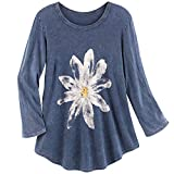 Jess & Jane Women's Watercolor Daisy Print Tunic Top - 3/4 Sleeves Shirt, Blue - X-Large