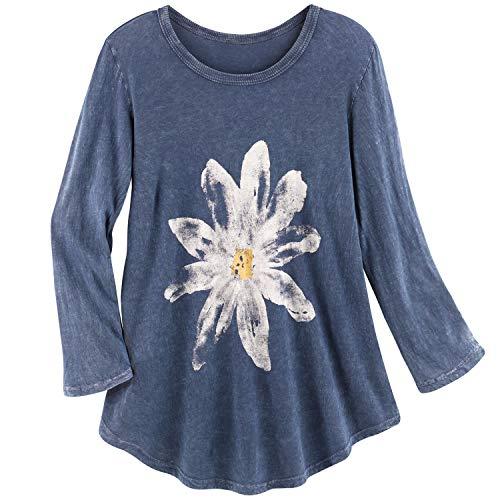 Jess & Jane Women's Watercolor Daisy Print Tunic Top - 3/4 Sleeves Shirt, Blue - X-Large