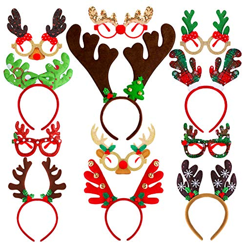Aneco 12 Pack Christmas Reindeer Glitter Eyewear and Headbands Ornaments Creative Christmas Costume Antler Headbands Glasses Frame Assorted Styles for Christmas Party