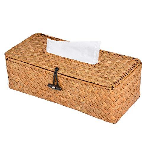 Akamino Tissue Box Cover Rectangular Woven Facial Tissue & Napkin Holder Pumping Paper Case Dispenser for Home Office Car Decoration
