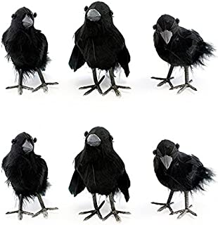 "Cornucopia Brands 4"" Tall Realistic Feathered Black Crows (6 Pack); Imitation Artificial Birds/Ravens for Halloween, Haunted House & Fall Seasonal Displays"