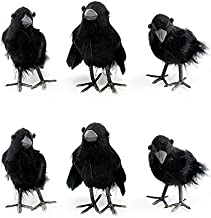 """Cornucopia Brands 4"""" Tall Realistic Feathered Black Crows (6 Pack); Imitation Artificial Birds/Ravens for Halloween, Haunted House & Fall Seasonal Displays"""