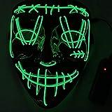 KEEHOM Máscara LED Halloween, Disfraz Luminosa Craneo Esqueleto, para Halloween Navidad Cosplay Grimace Fiesta...