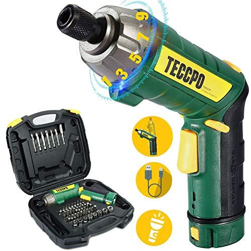 Atornillador Eléctrico 6N.m, TECCPO Destornillador Eléctrico, 45 Accesorios, 9 Torsión Ajustable, 2 Luz LED, Inferior como Linterna, Carga Cable USB-TDSC01P