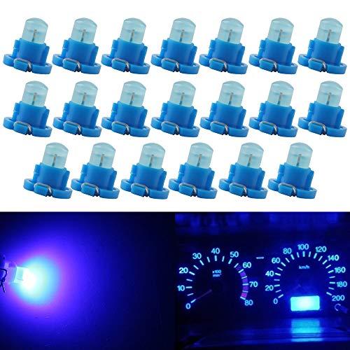 QasimLED Blue DC 12V t5 1SMD COB t4.2 Dashboard Light Bulb Warning Indicator Dashboard Side Instrument Light Interior Car Lights (Pack of 20)