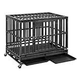 PUPZO Heavy Duty Dog Crate Pet Kennel Strong Steel with Four Wheels for Medium and Large Dogs,Easy to Install Outdoor Indoor Use (38-inch)