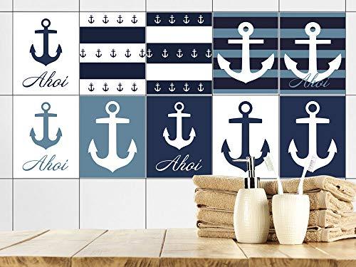GRAZDesign AHOI tegelstickers badkamer anker maritiem blauw wit, tegelstickers tegels om op te plakken, plakfolie voor badtegels 20x25cm Set van 10 stuks.