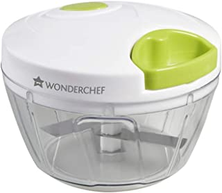 Wonderchef - String Plastic Vegetable Chopper with 3 Blade, Small, White and Green