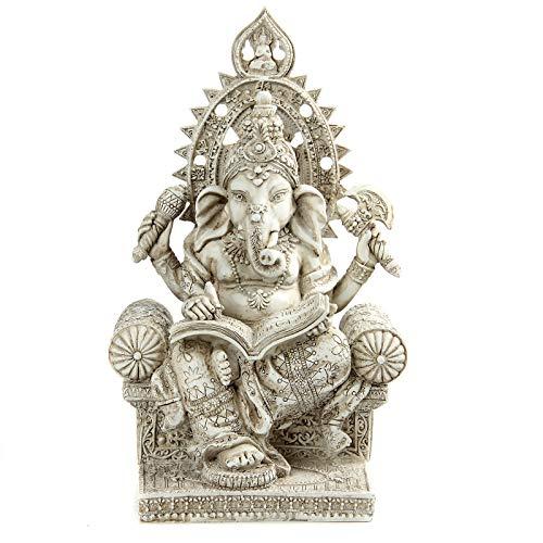 Leekung Ganesha Statue Home Decoration,Elephant God Ganesh Statues Meditative in Antique Finish,Hindu Ganesha Figurine Meditation Decor 8.3 inch Ivory Color