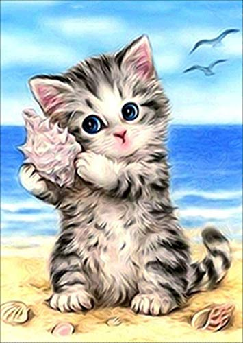 Cute Cat and Seashell Diamond Painting Kits - PigPigBoss 5D Full Drill Diamond Painting by Numbers Cross Stitch Art Diamond Dot Kits for Adults (11.8 x 15.7 inches)