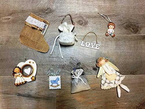 La Favola Incantata - 24 ADDOBBI Natalizi Assortiti Ciondoli Pendenti Diversi Palla di Natale Decorazione Natalizia INTROVABILI Handmade Artigianali Casuali Made in Italy Colore Bianco Shabby Chic