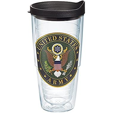 Tervis 1282390 Army Classic Seal Flex Tumbler with Emblem and Black Lid 24oz, Clear