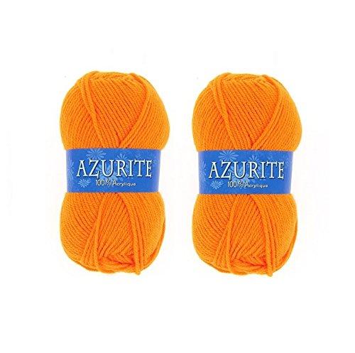 les colis noirs lcn Lot 2 Pelotes de Laine Azurite 100% Acrylique Tricot Crochet Tricoter - Orange - 007