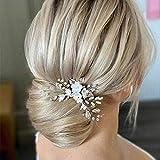 Edary Horquillas para el pelo de novia de boda, diseño de flores plateadas, accesorios para el pelo para mujeres y niñas
