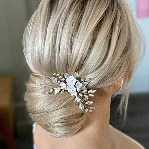 Edary Braut Hochzeit Haarnadeln Silber Blume Haarspangen Perlen Braut Kopfschmuck Blatt Haarschmuck für Frauen und Mädchen